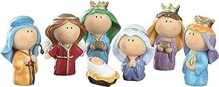 Cute Mini Christmas Nativity Set with Jesus Mary Joseph Wisemen Angel - 7 Pieces