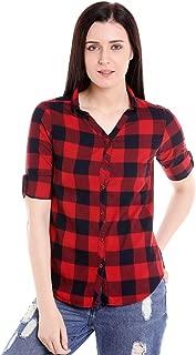 G.S.A ENTERPRISES GSAMALL Women's Full Sleeve Red/Black Check Cotton Shirt