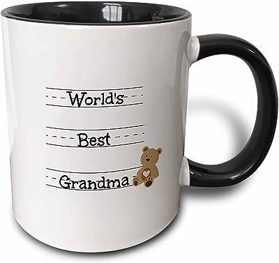 3dRose Worlds Best Grandma - Two Tone Black Mug, 11oz
