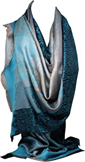 Quality Two Sided Print Self Embossed Pashmina Feel Wrap Scarf Stole Scarves Shawl