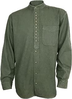 Irish Grandfather Shirt Collarless Dark Army Green