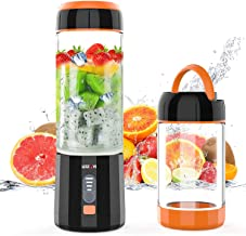 Portable Blender, LOZAYI Small Personal Blender Travel USB Rechargeable Juicer Cup for Shakes and Smoothies, Cordless Single Serve Fruit Mixer Mini Blender with Led Displayer for Outdoor Travel Home Office (Orange)