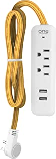 One Power by Promonts 2 Outlet Surge Protector Strip and Outlet Extension with 2 USB Ports (2.4 Amps) and Gold Braided Cable, Flat Plug, Opss221-G