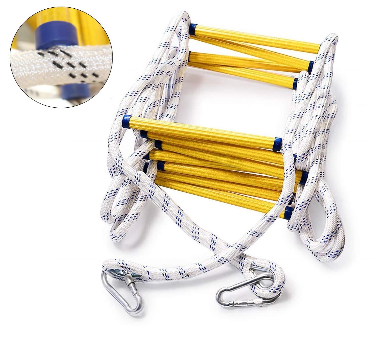 Yzllq 14 M (46 pies) Escape de Emergencia contra Incendios Escalera de Cuerda de Seguridad de Nylon Suave Rock Alpinismo Escalera de Escape con Ganchos: Amazon.es: Deportes y aire libre