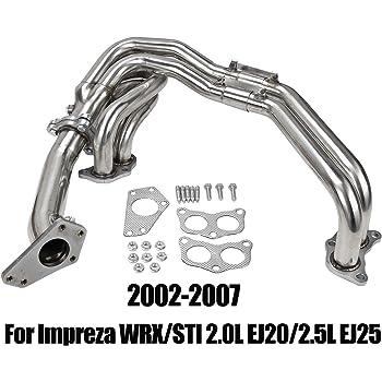 BLACKHORSE-RACING Stainless Manifold Header Up Exhaust Compatible with 2002-2007 Subaru Impreza WRX STI 2.0L EJ20 / 2.5L EJ25 DOHC