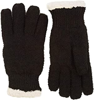 Isotoner Women's Impressions Casual Knit Glove with Fur Spill Trim, One Size Fits Most