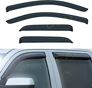 Lightronic Window Vents Deflectors Visors Window+Sun//Moon Rain Guards Fits for 4-Door Chevy Silverado//GMC Sierra Extended Cab