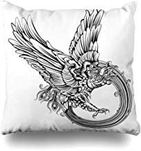Throw Pillow Cover Rebirth Tattoo Original Legendary Phoenix Bird Eagle Carved Tatoo Vintage Tribal Wing Rising Design Decorative Pillow Case Decor Square Size 18x18 Inches Home Pillowcase