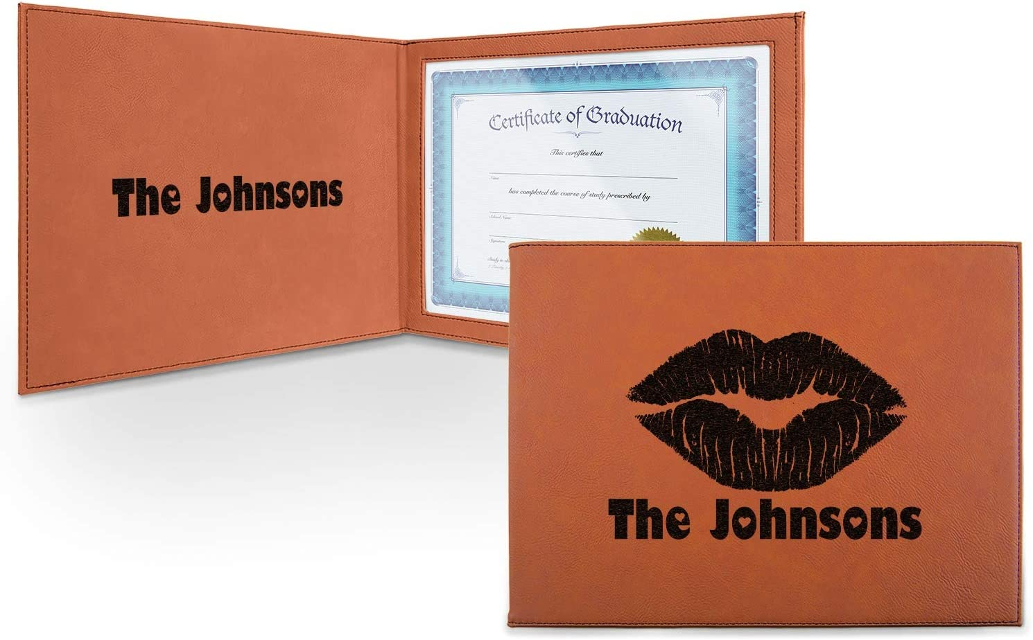 Lips n Long Beach sold out Mall Hearts Leatherette Certificate Inside - and Holder Front