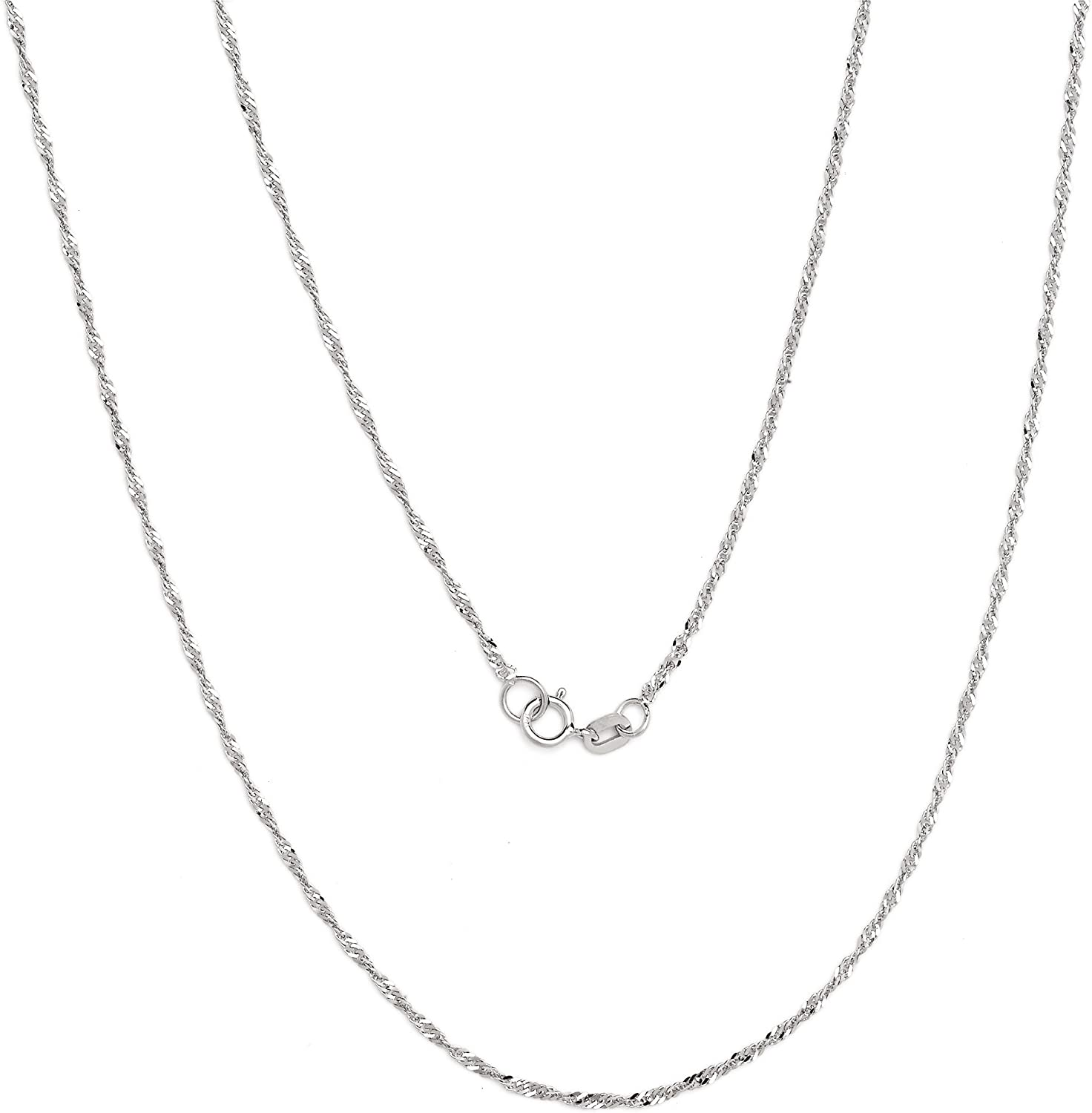 Floreo 10k Yellow or White Gold 1.3mm Thin Singapore Chain Necklace