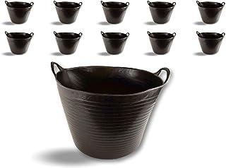 Seau bassine panier souple | Ø45-36 litres - Noir | Lot de 10 | Récipient multifonction polyéthylène plastique flexible ré...