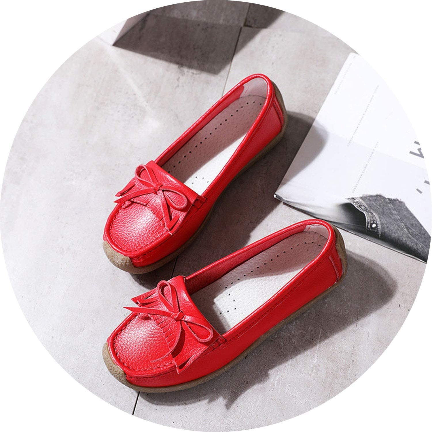 Women Flats Genuine Leather Loafers Woman Slip On Boat shoes Fashion Female Casual Single shoes 3542