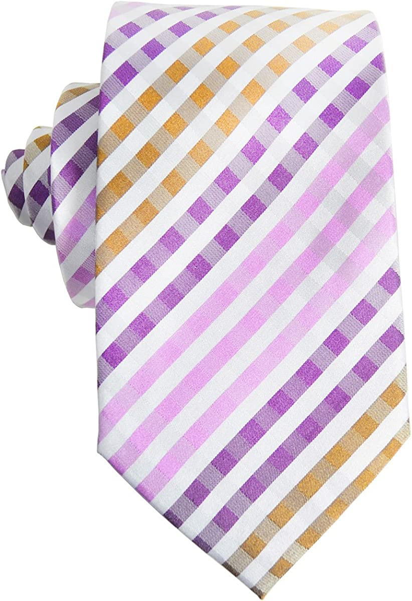 Purple Gingham Paul Malone Silk Tie and Pocket Square