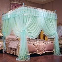 JQWUPUP Luxury Bed Curtains Canopy, Ruffle Tassel 4 Corner Post Mosquito Net, Bed Canopy for Girls Kids Toddlers Crib Adult, Bedding Décor (Queen, Light Blue)