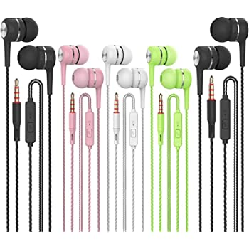 Earbuds Headphones with Microphone 5 Pack,Earbuds Wired Stereo Earphones in-Ear Headphones Bass Earbuds, Compatible with iPhone and Android Smartphones,iPod,iPad, MP3 Players,Fits All 3.5mm Interface