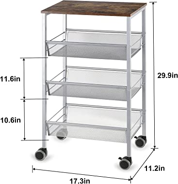 LIANTRAL Rustic Kitchen Cart on Wheels, 3-Tier Wire Storage Rolling Cart,Mesh Storage Pantry Cart with Lockable Wheels,Wood L