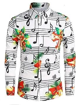 Jfhrfged - Camisas de Manga Larga para Hombre con Estampado ...