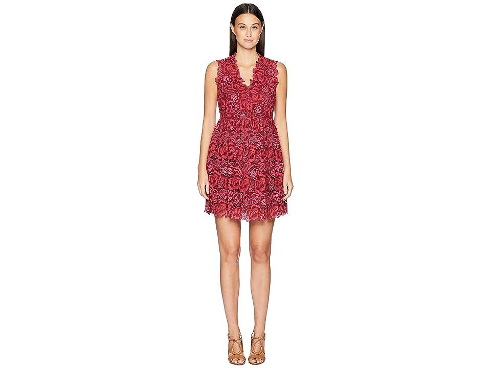 Kate Spade New York So Foxy Bicolor Lace Dress (Begonia Bloom/Deep Russet) Women