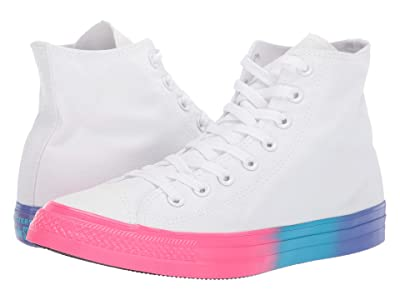 Converse Chuck Taylor All Star Hi (White/Racer Pink/Gnarly Blue) Lace up casual Shoes
