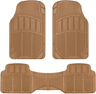 BDK CarXS Proliners Classic Rubber Car Floor Mats - 3pc Front & Rear Heavy Duty Diamond Grid for Car Truck SUV Van