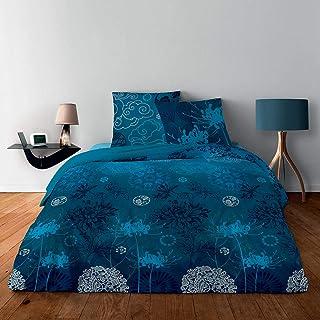 Alpes Blanc Housse de Couette 100% Coton - 220x240 + 2 taies d'oreiller 65x65 pour lit 2 Places (Japonisant Bleu)