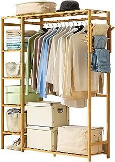 LOHOX Portant Penderie à Vêtements en Bambou Porte Manteau Armoire Crochets Etagères de Rangement en avec étagère pour Cha...