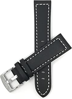 Mens Leather Watch Band Strap, Racer, Stainless Steel Buckle, with or Without Stitch, 6 Colors (20mm, 22mm, 24mm, 26mm, 28mm)