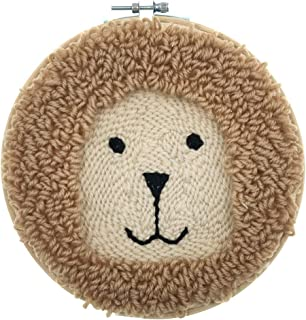 Wool Queen Lion Punch Needle Starter Kit | Animal Rug-Punch Beginner Kit, with an Adjustable Embroidery Pen and 7.9'' Bamboo Hoop