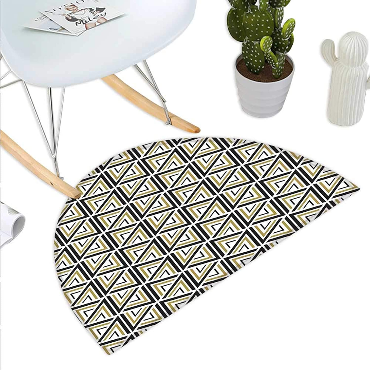 Geometric Semicircle Doormat Modern Stylish Triangle and Diamond Repeating Line Tiling Figures Image Halfmoon doormats H 39.3  xD 59  Mustard and Black