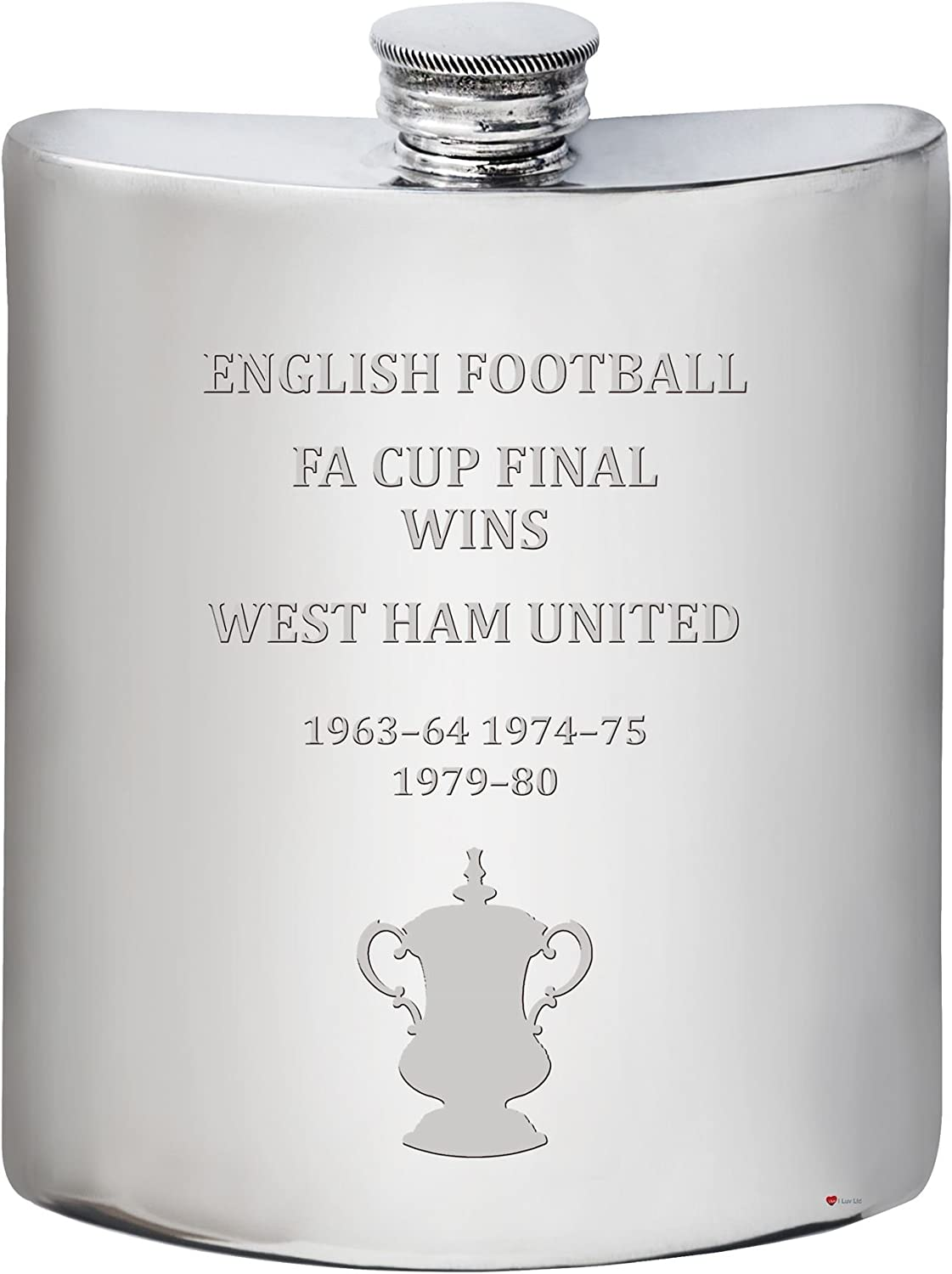 clásico atemporal I Luv LTD West Ham United English FA Cup Cup Cup Winner 6oz Pewter Hip Flask  tiendas minoristas