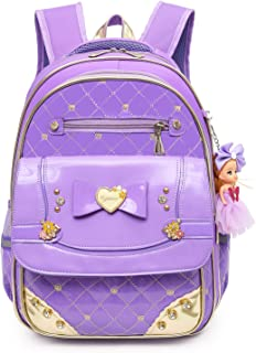 213b8afafc14 Waterproof PU Leather Kids Princess Backpack Cute School Bookbag for Girls  (Large