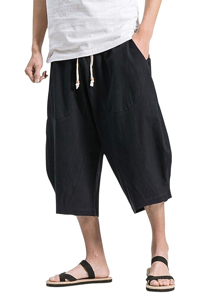 イル怖がって死ぬ低いVINMORI (ヴィンモリ) メンズ サルエルパンツ 半パンツ 麻 袴パンツ 7分丈 クロップドパンツ ズボン ショートパンツ ゆったり ワイドパンツ 短パン 夏 無地 調整紐 大きいサイズ