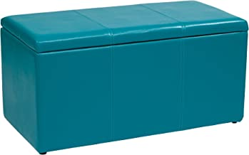 Office Star Metro 3-Piece Bench and Ottoman Cube Set in Vinyl, Blue