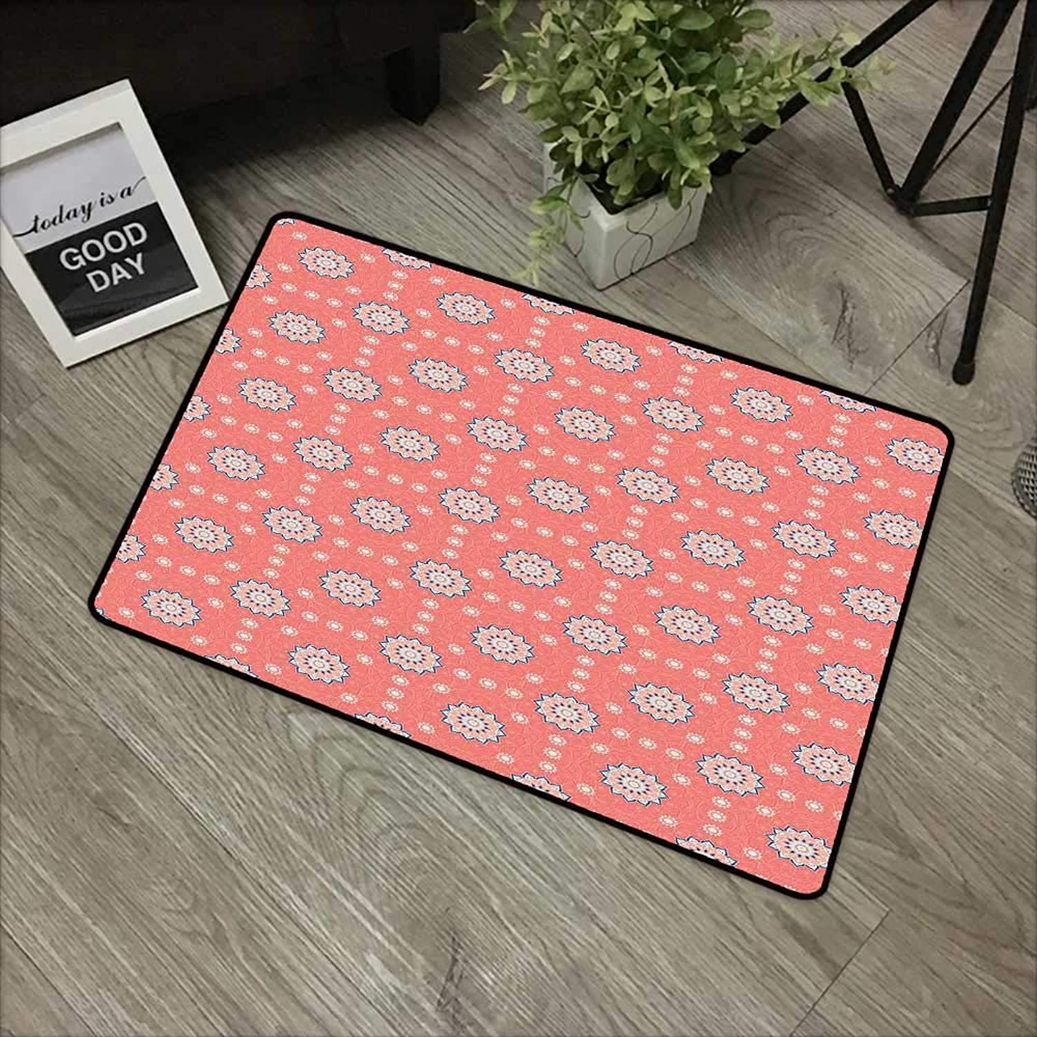 Bathroom door mat W35 x L59 INCH Mgoldccan,Artistic Asian Floral Framework Faded Leaf Ornaments Old Fashioned Blossoms,Coral Peach bluee Easy to clean, no deformation, no fading Non-slip Door Mat Carpet
