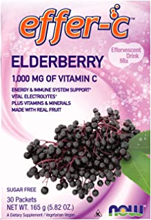 NOW Supplements, Effer-C™, Elderberry, Vital Electrolytes*, 1000 mg of Vitamin C, 30 Packets