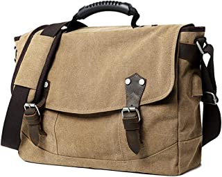 Wxnow Leather Canvas Messenger Satchel School Shoulder Bag Laptop Crossbody Bags