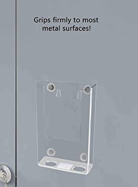 "Marketing Holders 4 1/4"" W Tri Fold Holder Indoor Outdoor Schools Businesses Clear Display Magnetic Mount Locker Metal Su"
