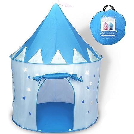 Actnow キッズテント 子供用遊ぶハウス 室内でも 屋外でも 可愛い お城テント 折りたたみ式 遊具テント(ブルー)