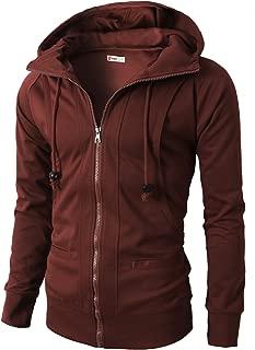 Mens Casual Slim Fit Hoodie Zip-Up Long Sleeve Active Jersey Jackets