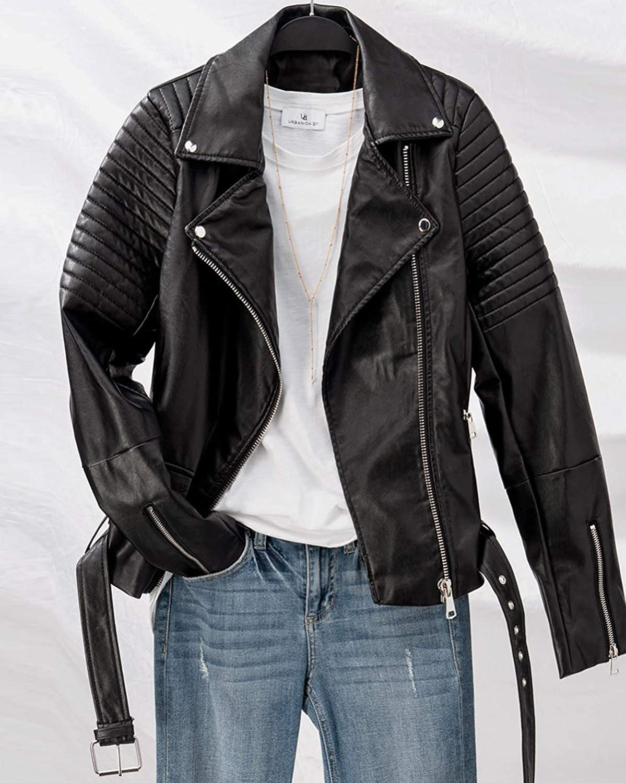 urbandaizy Women's Faux Leather Motorcycle Jacket