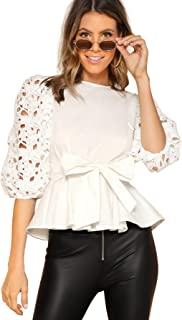 Best white lace peplum tops Reviews