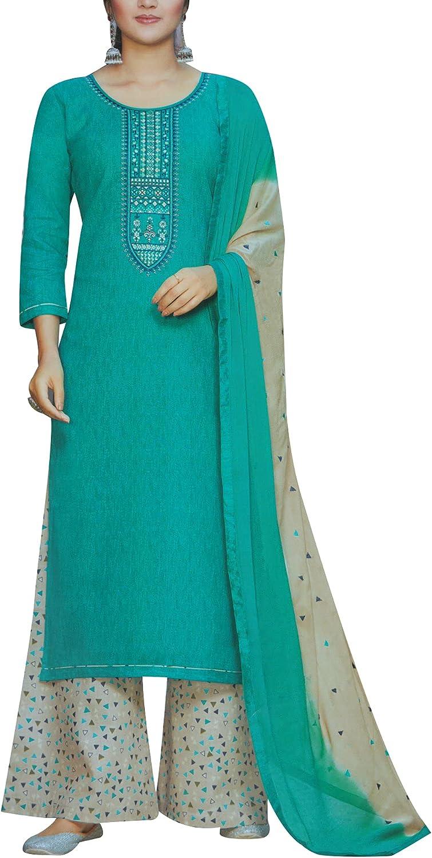 ladyline Cotton Self Print & Embroidered Salwar Kameez with Palazzo Pants Suit