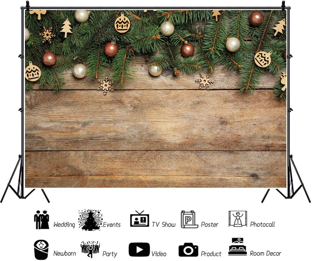 YongFoto 5x3ft Christmas Vinyl Backdrop Round Ball Green Branches on Rustic Wooden Board Photography Background Party Theme Banner Family Home Decor Poster Portrait Photo Shoot Studio