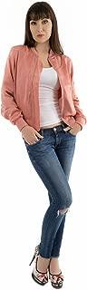 Brushed Satin Bomber Jacket | Womens Soft Biker Baseball Coat | Lightweight Short Zip Up