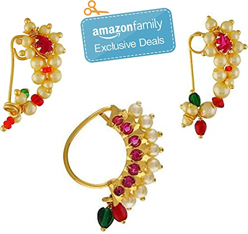 Vail Creations Multicolour Gold Plated Traditional Maharashtrian Clip on Nath Nose Ring Without Piercing Combo Set fo...