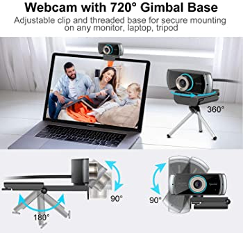 1080P Webcam with Microphone for Desktop, 100° Wide Angle HD Webcam for Streaming OBS Xbox XSplit Skype Facebook, Com...
