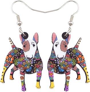 BONSNY Acrylic Drop Dangle Bull Terrier Dog Pets Earrings Funny Lovely Gift Girl Women Fashion Jewelry