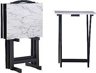 "Linon Tray Table Set, 15.75""D x 18.9""W x 26.38""H, White"