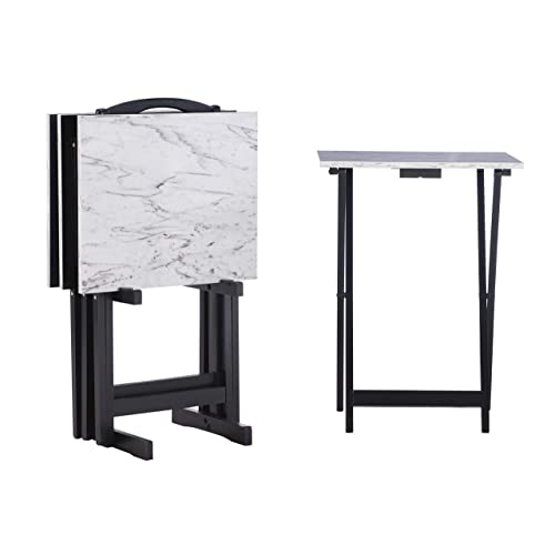 Linon Tray Table Set, 15.75 D x 18.9 W x 26.38 H, White