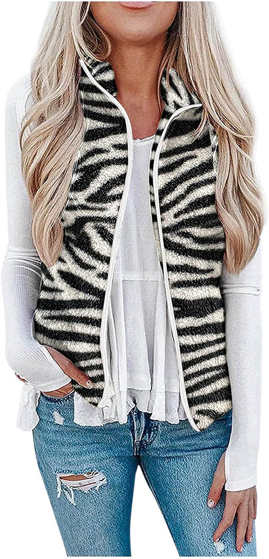 Misaky Fashion Women Sleeveless Front Open Warm Faux Fur Vests Coat Outwear Zipper with Pocket